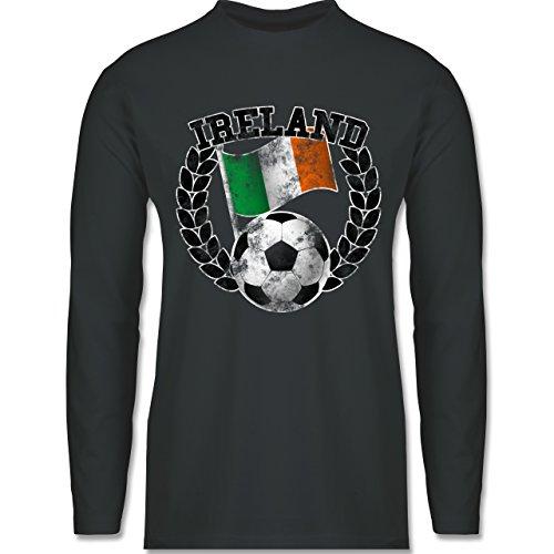 Shirtracer Fußball - Ireland Flagge & Fußball Vintage - Herren Langarmshirt Dunkelgrau
