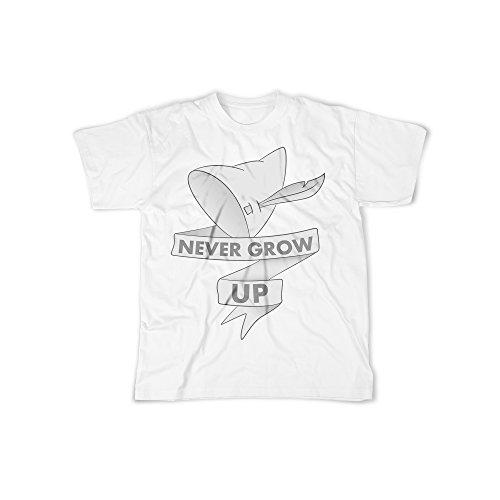 Aufdruck in Weiß Gr. XXXL Never Grow up Hut Design Boy Top Jungs Shirt Herren Basic 100% Baumwolle Kurzarm (Sexy Piraten Kostüme Männer)