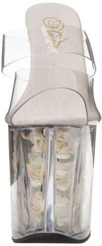 Pleaser, Sandali donna Multicolore (Clear/white)