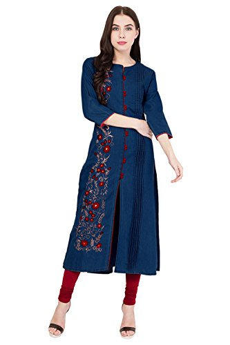 PINKY PARI Women's Denim Embroidered Kurti (Dark Blue_XXXL)
