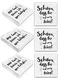 """Bada Bing 6er Set Mit 120 Stück Servietten Spruch Weiß Edel Papierservietten""""Schön, dass Ihr mit uns feiert""""""""Mit Euch feier ich am liebsten"""" 80"""