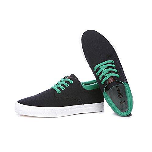 Rismart Hommes Lacer Cale Basse Toile Baskets Confort Randonnée Espadrilles Chaussures Noir