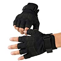 Knuckle Protective Gloves, Mens Tactical Fighting Gloves,Outdoor Sports Half Finger Gloves for for Motorbike Hiking Hunting Paintball (1 pair),Black,M