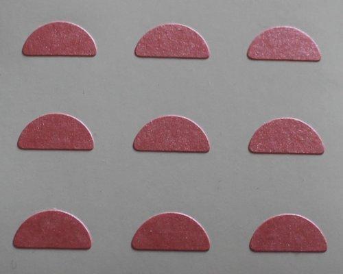 150 Etiquetas, 10x5mm Half Moon Forma, Rosa, pegatinas autoadhesivas, Minilabel Formas