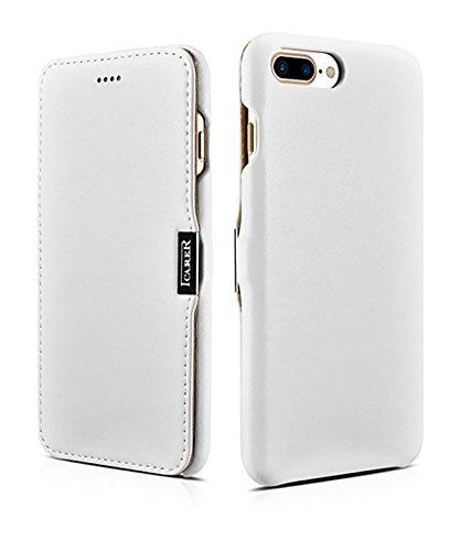 Luxus Tasche für Apple iPhone 8 Plus und iPhone 7 Plus (5.5 Zoll) / Case mit Echt-Leder Außenseite / Schutz-Hülle seitlich aufklappbar / ultra-slim Cover / Etui mit Textil-Innenseite / Farbe: Weiß - Bild 1