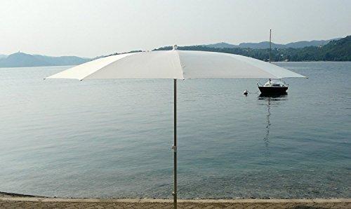 PEGANE Parasol Rond centré Coloris Blanc, H 2.50/2.90m x 350/10 Baleines