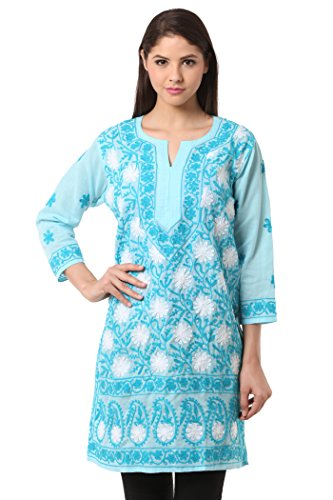 Saadgi Lucknowi Chikankari Kurti/Kurta for Women/Girls - Embroidered Double Thread Work &...