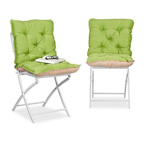 Relaxdays 10023467_53 Cuscino Imbottito per Sedia da Giardino, Set da 2, Imbottitura Trapuntata con Schienale, HxBxT: 9 x 46 x 96 cm, Verde/Sabbia