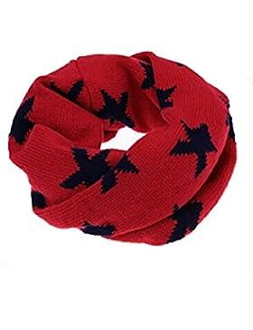 TININNA Bambini Autunnali e Invernale Calde Carino Infinity Loop Sciarpa Crochet Circle Sciarpa Scaldacollo(Rosso)