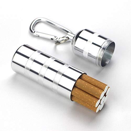JT Männer Zigaretten Gehäuse Tragbar Versiegelten Tank Wasserdichte Aluminium-Legierung Zigarettenschachtel Kann 7-8,Silver,2.8X10.5CM - Automatische Tank