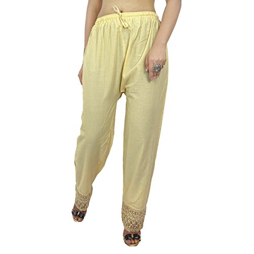 Femmes Hippie Baggy Yoga Sarouel Aladdin Harem Pantalons Beige