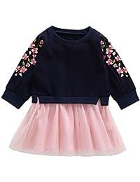 UK Sommer Baby Mädchen Kleid Blumenmuster Erdbeere Stickerei Ärmellos Kinder