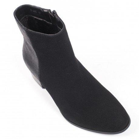 Ideal Shoes - Bottines bimatière Canelle Noir