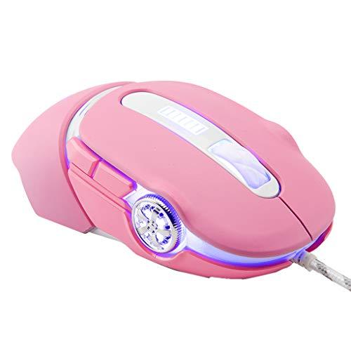 Thepass Computermaus, 2400 DPI, mechanische Hintergrundbeleuchtung, Gaming-Maus, 6 Tasten, Makro-Programmierung, ideal für Arbeit/Studium Pink Rose one-Size -