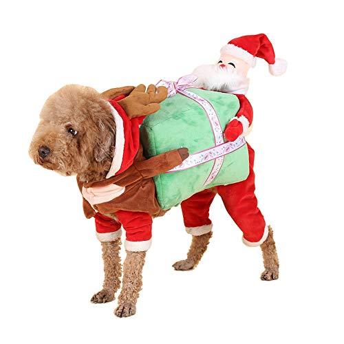 Fablcrew Klassische Weihnachtskleidung Santa Hunde Kostüm Weihnachtsjacke Pet Winterjacke Cat Dog Holiday Plus Double Layer Warm 3D (Santa Kostüm Für Hunde)