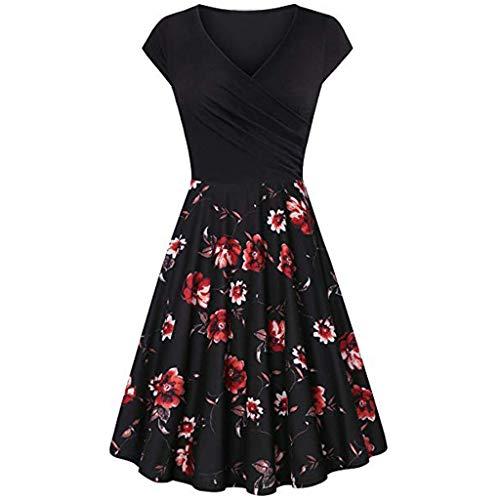 Damen Kleid,Pottoa Frauen Elegantes Ausgestelltes Kleid mit A-Linie - Kurzärmliges Kleid mit V-Ausschnitt - Knielang Etuikleid mit Stretch Partykleid - Swing Kleider -