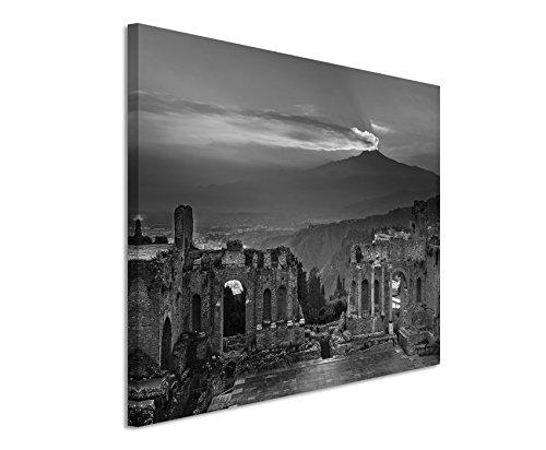 canvas-print-50x-70cm-black-white-top-quality-ruins-flavian-amphitheatre-tna-sunset
