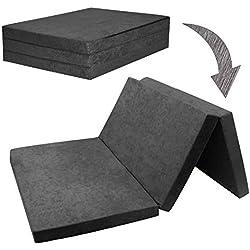 Fortisline Matelas d'appoint Pliant 2 Places lit d'appoint lit d'invité futon Pouf 195x120x9 cm Couleur Gris