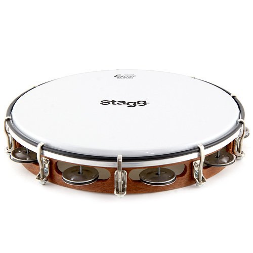 STAGG TAWH 101T 10 TUNABLE WOODEN TAMBOURINE  W/ 1 ROW OF JINGLES