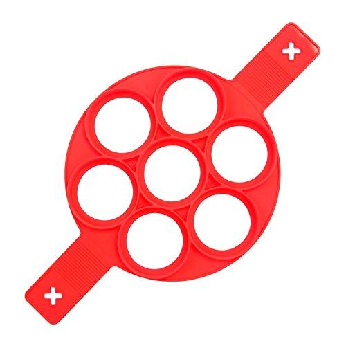 7 Runde Kuchenform Backzubehör Nonstick Silikon Ei Ring Pancakes Pfannkuchen Form Pfannkuchen-Gebäckformen (Mikrowelle Ei-ring)