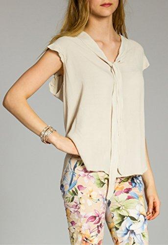CASPAR SRT023 Damen Viskose Shirt Beige