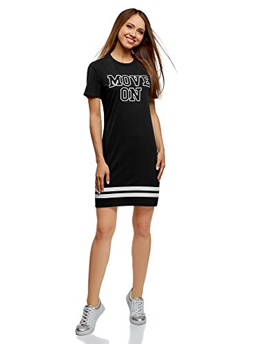 oodji Ultra Mujer Vestido de Punto con Estampado, Negro, ES 44 / XL
