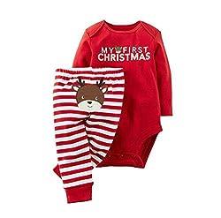 WangsCanis Neugeborenes Xmas Baby Junge Mädchen Erste Weihnachten Hirsch Weihnachtsmann Strampler + Gestreifte Hosen 2pcs Outfits Set (3-6 Monate/70, Weihnachten Hirsch #1)