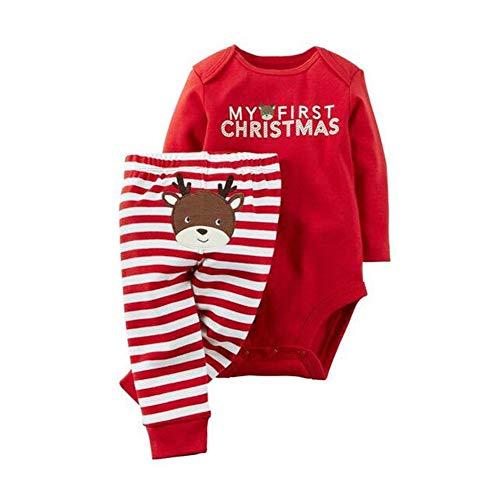 WangsCanis Neugeborenes Xmas Baby Junge Mädchen Erste Weihnachten Hirsch Weihnachtsmann Strampler + Gestreifte Hosen 2pcs Outfits Set, Weihnachten Hirsch #1, 3-6 Monate (Outfits 2pcs)