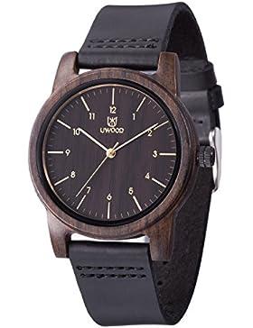 [Gesponsert]Holzuhr UWOOD schwarz Sandelholz Armbanduhr Casual Holz Fashion Holz Watch Herren Frauen …