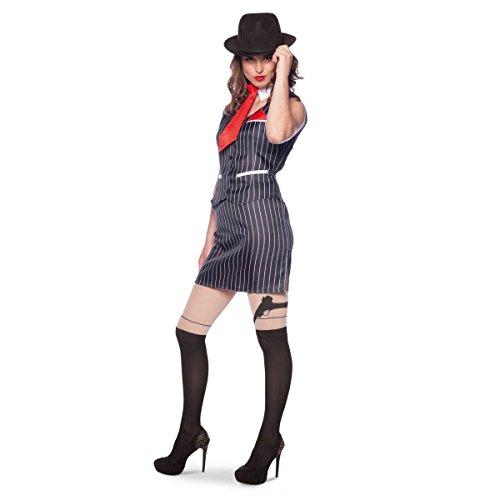 Frau Gangster Kostüm Mafia - Folat 64039 Mafia-Chef, Frau Kostüm, Größe S/M, Small