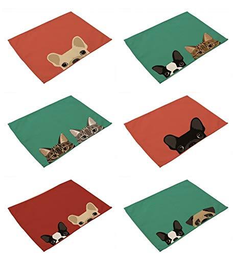 Tovagliette set 6, il cotone e il lino blended tessuto resistente al calore vintage lavabile creative rosso arancione e verde e cat cane retro olio animale effetto pittura stampato stoffa per tutta l