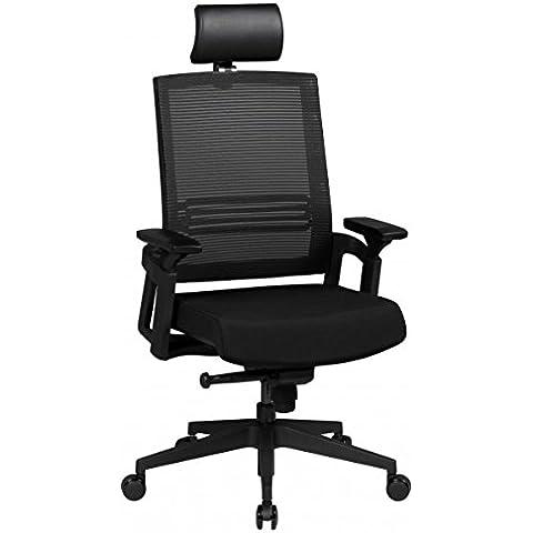 FineBuy Sedia da ufficio OTTO 1 tessuto altezza sedia braccioli regolabili ergonomica regolabile esecutivo Sedia design 120 kg sedia girevole nera meccanismo sincrono ad alta schienale X-XL Hochlehner