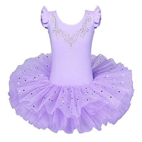 ZNYUNE Mädchen Kinder Ballettkleid Ballettanzug Trikot Leotard Ballettbekleidung Ballettbody Lila 6-7 Jahre -