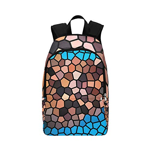 Mosaic Structure Tile Blue Brown Black Casual Daypack Travel Bag College School Backpack for Mens and Women