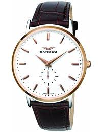 Sandoz Portobello Collection - Reloj de caballero de cuarzo, correa de piel color marrón