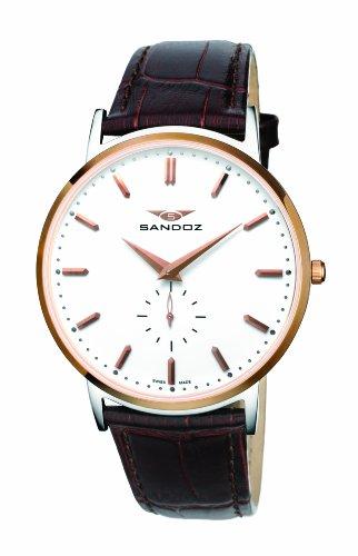 Sandoz Portobello Collection – Reloj de caballero de cuarzo, correa de piel color marrón
