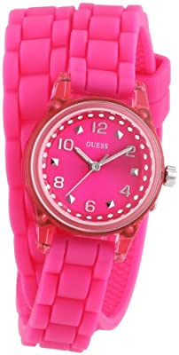 Reloj Guess W65023L3 de cuarzo para mujer con correa de caucho, color rosa de GUESS