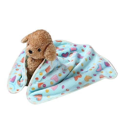 Fenverk HüNdchen Decke Polster Hund Katze Vlies Decken Haustier Schlafmatte Pad Bett Abdeckung Mit Pfote Drucken KäTzchen Weich Warm Zum Tiere Sich Ausruhen Atmungsaktiv(Himmelblau,L)