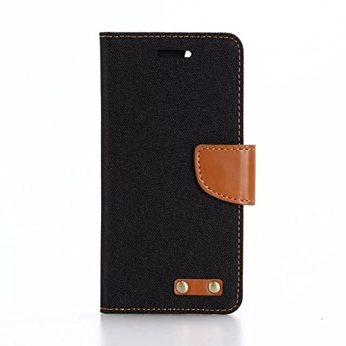 "inShang iPhone 7 Coque 4.7"" Housse de Protection Etui pour Apple iPhone7 4.7 Inch,Coque Avec support fonction, Pochette super- utile, Wallet design with card slot Oxford cloth black"