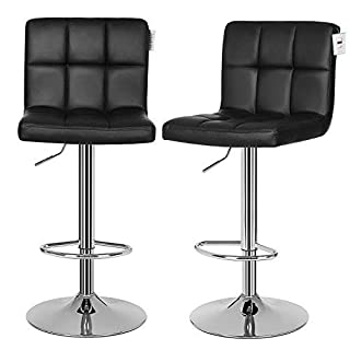 SONGMICS 2 x Chrome Swivel Bar Stool, Height Adjustable, with Back and Footrest, PU Black LJB64BUK