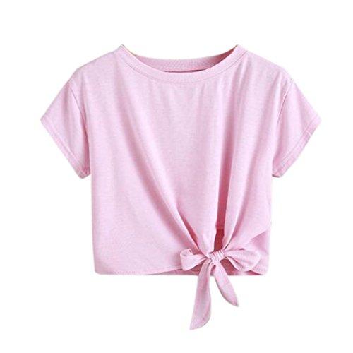 T-Shirt Damen Sommer Bauchfrei V-Ausschnitt Stickerei Kurzarm Crop Tops Oberteile Bluse (S, Rosa)