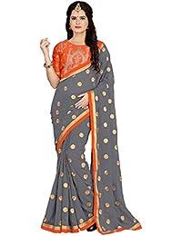 302adb6aad3e1b Vaidehi Fashion Georgette Saree With Blouse Piece (Eww 10660 Orange Free  Size)