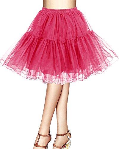 bridesmay Kurz Retro Petticoat Rock 1950er Vintage Tutu Ballett Unterkleid Rose M