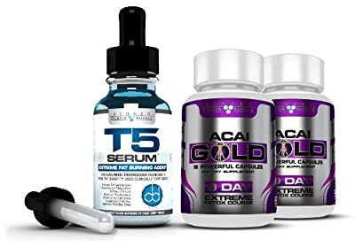 Complete Detox & Slimming / Weight Loss Bundle - T5 Fat burners Serum XT & Acai Berry Gold: (Maximum Strength 1 Month Supply) by Biogen Health Science