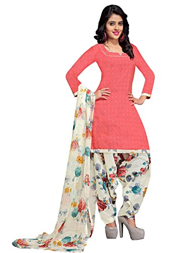 Rajnandini Women\'s Cotton Printed Dress Material(JOPLVSM3846_Peach_Free Size)