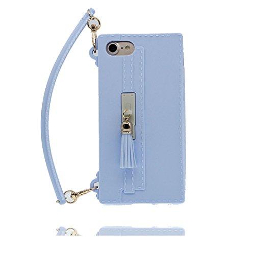 iPhone 7 Custodia, TPU protezione iPhone 7 Copertura 4.7, Case Cartoon Tdurevole Cover - ( 3D borsetta ) - iPhone 7 shell 4.7 rosa blu