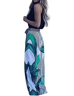 Ropa femenina, RETUROM Pantalones largos sueltos elásticos de la impresión larga de las mujeres pantalones mediados...