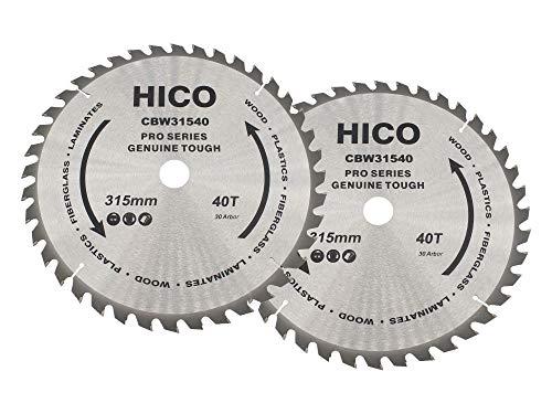 2er-Pack HICO Sägeblatt für Kreissägen 315mm 40 Zähne Wechselzahn Hartmetall