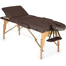 Klarfit MT 500 lettino da massaggio portatile (210cm, peso massimo 200 kg, due poggiatesta, schienale 10 regolazioni, apertura viso, ripiegabile, con borsone) - marrone