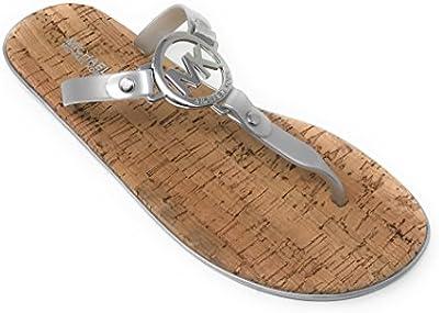 Michael Kors MK Charm Jelly Flip Flop Cork Bottom, Silver (7)